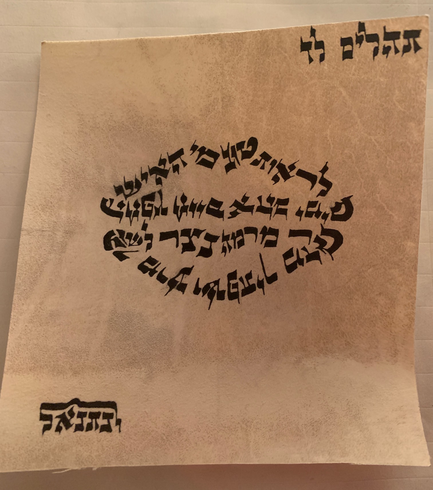 Tehilim Lamed Daled Handwritten Judaica Scribal Art